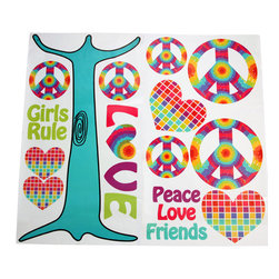 "Terrific Tie Dye - Wall Decals - Wall decals couldn't be any cuter.  Fun cut outs of the collections signature shapes in hearts and peace signs as well as fun sayings of ""love"", ""peace"", ""girls rule"", and ""friends"".  All are designed to be part of a tree (tree trunk decal included).  Be the first to make your statement with this collection!"