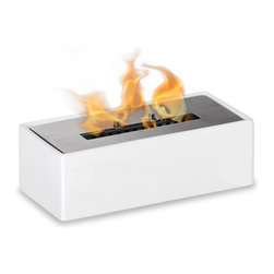 Mia Tabletop Bio Ethanol Fireplace by Ignis - The Mia ethanol fire feature is a stunning way to add emotive decor to your table. Whether you'd like to create a romantic setting or one to entertain guests - the open flame is mesmerizing - indoors or out. This fireplace offers an eco-friendly flame that is odorless. Bio Ethanol, an alternative fuel source produced from plants, only emits water vapor and carbon dioxide into the air. Although ethanol fireplaces aren't intended for use as a primary heat source, the Mia model produces approximately 6,000 btu, which will change the noticeable temperature in an area of 200-250 square feet. Appropriate for any living space, Mia is offered in white or black ceramic to compliment the stainless steel burner.