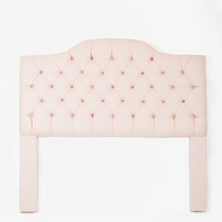 Light Pink Tufted Camelback Headboard - The softest of blush tones gives this tufted headboard a more neutral look than a bright in-your-face pink would.