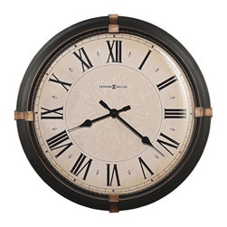 """HOWARD MILLER - Howard Miller Atwater 24"""" Wall Clock - This 24"""" diameter metal clock is finished in a dark rubbed bronze with aged bronze accents at the 3, 6, 9 and 12 positions."""