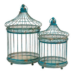 Antique Blue Vintage Look Lizzy Bird Cages - Set of 2 - *The set of two Lizzy Bird Cages have a versatile style and a multitude of uses. Fill with moss covered topiary balls, or faux florals. Change the Decor for each of the seasons and holidays or add a different style depending on the room you display them!