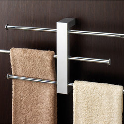 "Gedy - Polished Chrome Wall Mounted Towel Rack With 3 16 Inch Sliding Rails - Wall mounted rack with 3 16"" sliding towel rails made in brass with polished chrome finish. Wall mounted towel rack. Three adjustable towel bars. Made out of brass and stainless steel. Polished chrome finish. 3 16 inch polished chrome sliding towel rails. From the Gedy Bridge Collection."