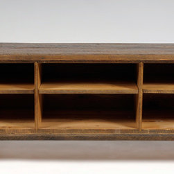Versailles Media Center - A rustic mid century modern design, this piece is built with all reclaimed rough sawn antique pine and oak from Versailles, NC.  Hand Built by Reclamation Company in Hickory, NC.