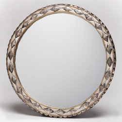 """18"""" Round Moroccan White Bone Mirror - This beautifully unique wall mirror is framed with inlaid natural bone and hand-embossed metal. The hand-carved bone is from camel, sheep or cow."""