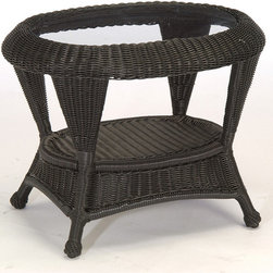 Frontgate - Classic Wicker Outdoor Side Table with Inlaid Glass - Ideal for any environment, including oceanfront and saltwater destinations. Constructed of hand-woven high-quality resin, an exceptionally durable all-weather material that is specially formulated to resist fading. Hand-welded aluminum alloy frame is finished with a durable baked-on polyester powder coating to protect against the elements. Diamond-back weave design, sturdy braided frame, and ball feet with permanent nylon foot glides. Includes inlaid glass. The Classic Wicker Side Table by Summer Classics&reg offers the vintage look of traditinoal wicker, updated with the durability of all-weather high-quality resin wicker materials. This wicker side table is the perfect complement to one of the many great seating options in the Classic Wicker Collection. Part of the Classic Wicker by Summer Classics&reg Collection. . . . . . Black Walnut or Weathered Pebble finish .