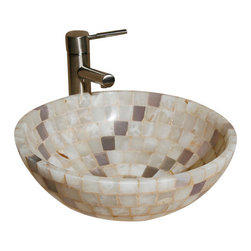 """The Allstone Group - L-VMR-SS-16WL Polished #16 Vessel Sink - Natural stone strikes a balance between beauty and function. Each design is hand-hewn from 100% natural stone.  Allstone mosaic vessel sinks are our only product that is not carved from one single piece of stone.  Onyx was used in Egypt as early as the Second Dynasty to make bowls and other pottery items. Onyx is also mentioned in the Bible at various points, such as in Genesis 2:12 """"and the gold of that land is good: there is bdellium and the onyx stone"""", and such as the priests' garments and the foundation of the city of Heaven in Revelation."""