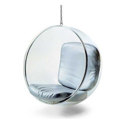 Fine Mod Imports - Fine Mod Imports Bubble Hanging Chair in Silver - The acrylic and chrome plated chair remains as cutting edge in its design in despite being created over 40 years ago.