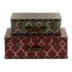 Benzara - Contemporary Inspired Style Wood Vinyl Case Set of 2 Home Decor - Description: