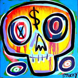 "Small $Kull 1 (Original) by Stucky - 12x12"" on gallery wrap stretched canvas, sides painted black"