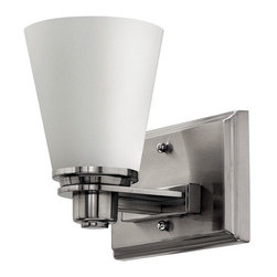 Avon Single Bath Light - This single bath light features a hand-blown cased opal glass shade and clean, contemporary design.