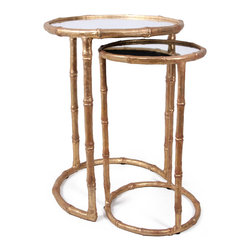 Cane Nesting Accent Table - Antique Gold - Fashioned after sweet sugarcane stalks and ready to accent any space, the Bliss Studio Cane Nesting Tables are a darling way to incorporate additonal table space in your d�cor. Resting one inside the other, use one or both as needed and bring a delicate touch to your living room or den. Mirrored tops bring a light reflecting shine to the piece and are available in an antiqued gold or champange hued finish.