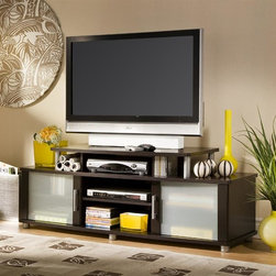 """South Shore - LCD/Plasma TV Stand With Chocolate Finish - From the City Life Collection, you can imagine this TV stand in a high-rise loft space or other modern setting. Constructed of tempered glass, metal tubing and wood this LCD or plasma TV stand has loads of space for your electronics. Chocolate brown finish. * Manufactured from eco-friendly, EPP-compliant laminated particle boardcarrying the Forest Stewardship Council (FSC) certification. Chocolate finish. Stands on plastic silver-finish legs. Metal handles feature a silver finish. Decorative metal tubing adds style. Tempered glass on the doors protects your equipment. The upper shelf acommodates most 36"""" and some 40"""" TVs, and stands solidly on metal legs. 3 adjustable shelves & 6 holes for wiring (1 in each space). Doors in frosted & tempered glass. Manufactured from engineered-wood products. Made of engineered wood from 100% recycled wood fiber. 5-year warranty. Assembly required60 in. L x 20 in. W x 23 in. H. 105 lbs"""