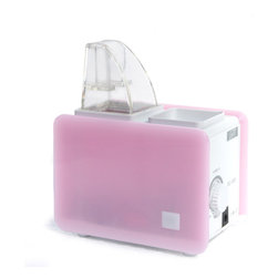 Sunpentown - Portable Humidifier, Pink/White - Compact and lightweight, this personal humidifier offers portability that is perfect for travel use. Small enough to easily fit in your luggage or carry on. Two different sized bottle adapters and a 100~240V AC adapter allows universal usage. All you need to obtain at destination is a bottle of water. Also ideal for use at work, in nursery or for anyone who desires its convenience and portability. Ultrasonic technology offers cool mist and quiet operation.