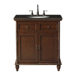 Home Decorators Collection - Arlington Sink Cabinet - Our elegant Arlington Sink Cabinet is trimmed with intricate carved details and features a gorgeous black granite countertop. Two doors open for storage beneath the sink. Antique cherry finish. Coordinates with our other Arlington bath pieces.