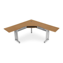 OFM - RiZe Panel System Desk - This L-shaped freestanding workstation is a 24'' deep for plenty of room to work. The contemporary design matches almost any office decor and the scratch-resistant paint finish helps keep it looking great. Includes a built-in sliding keyboard tray that retracts when not needed. Features: -Contemporary design.-Ample space for computer, accessories, etc.-Scratch-resistant thermofused melamine surface.-Designed and built for commercial use.-Distressed: No.Dimensions: -Overall dimensions: 29.5'' H X 60 - 72'' W X 24'' D.-Overall Product Weight: 108 - 114 lbs.Assembly: -Features:.-No tools are required for assembly.