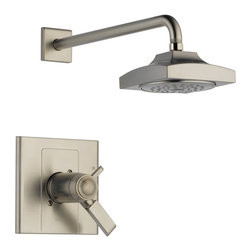 Delta - Delta T17T286-SS Arzo TempAssure 17T Series Shower Trim with Rain Can Showerhead - Delta T17T286-SS Arzo TempAssure® 17T Series Shower Trim with Rain Can Showerhead in StainlessInspired by geometric designs found in mid-century modern furniture, Arzo makes a bold statement in understated fashion.  Getting ready in the morning is far from routine when you are surrounded by a bath that reflects your personal style.  Bathers should not need to experience a sudden and possibly unsafe change in shower water temperature just because a toilet is flushed or a dishwasher or washing machine is turned on. Delta Monitor® faucets are designed to avert these problems.  The Arzo Collection is available in a full suite of products to provide a coordinated look to your bath.Delta T17T286-SS Arzo TempAssure® 17T Series Shower Trim with Rain Can Showerhead in Stainless, Features:• Only Delta faucets are equipped with Touch-Clean® soft, rubber nubbins that allow you to easily wipe away calcium and lime build-up with the touch of a finger.