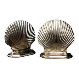 Vintage Brass Clam Shell Bookends - $150 Est. Retail - $55 on Chairish.com -