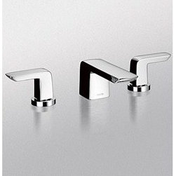 "Toto - TOTO Soirée(R) Widespread Lavatory Faucet, 1.5 GPM - Transform your daily bathroom experience into an oasis of comfort and sleek luxury with the advent of the TOTO Soirée(R) Widespread Lavatory Faucet. This stunning faucet is the perfect complement to your modern bath and is ADA Compliant. Features & Specs Brass valve bodies 1/4 turn washerless ceramic disk valve cartridge for drip free performance Flexible hose connection for 8"" to 16"" spread installations Metal pop-up drain included WaterSense approved 1.5 gpm flow rate ADA Compliant Lifetime Limited Warranty (Residential Use), One Year (Commercial Use) View Spec Sheet"