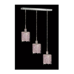 Elegant Lighting - Mini Rosaline Crystal Pendant w 3 Lights in Chrome (Strass Swarovski) - Choose Crystal: Strass Swarovski. 3 ft. Chain/Wire Included. Bulbs not included. Crystal Color: Rosaline (Pink). Chrome finish. Number of Bulbs: 3. Bulb Type: GU10. Bulb Wattage: 55. Max Wattage: 165. Voltage: 110V-125V. Assembly required. Meets UL & ULC Standards: Yes. 14.5 in. D x 8 to 48 in. H (8lbs.)Description of Crystal trim:Royal Cut, a combination of high quality lead free machine cut and machine polished crystals & full-lead machined-cut crystals..SPECTRA Swarovski, this breed of crystal offers maximum optical quality and radiance. Machined cut and polished, a Swarovski technician¢s strict production demands are applied to this lead free, high quality crystal.Strass Swarovski is an exercise in technical perfection, Swarovski ELEMENTS crystal meets all standards of perfection. It is original, flawless and brilliant, possessing lead oxide in excess of 39%. Made in Austria, each facet is perfectly cut and polished by machine to maintain optical purity and consistency. An invisible coating is applied at the end of the process to make the crystal easier to clean. While available in clear it can be specially ordered in a variety of colors.Not all trims are available on all models.