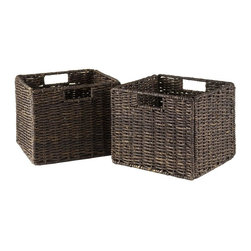 Winsome Wood - Small Corn Husk Basket - Set of 2 - Set of 2. Chocolate finish. No assembly required. Baskets opening: 11 in. W x 10.24 in. D x 9 in. H. Folded: 19.88 in. W x 2.36 in. D x 9.45 in. H