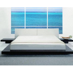 Opal Japanese Style Platform Bed By Vig Furniture - Nirvana,described as the perfect state of peace,will be achieved in this Asian-inspired contemporary piece. The Opal Japanese Style Platform Bed with Nightstands features a modern,minimalist design with its off-white leatherette headboard and low profile silhouette. Choose from three versatile finishes black gloss,white gloss or wenge wood veneer to create your own haven. Available in queen,California king or Eastern king size.