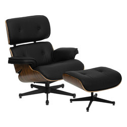 Flash Furniture - Eames Style Top Grain Leathersoft Lounge Chair And Ottoman Set With Metal Base - This Eames Style timeless piece of art will be the staple in your home or office with its modern classic design. The Eames Style Lounge will coordinate in any office or home environment. You will definitely feel the comfort with the lounge and ottoman combination. The rich laminate wood frame contrasts beautifully against the top grain black LeatherSoft upholstery to appeal to everyone.