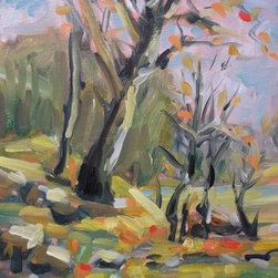 """The Last Sign Of Fall     11X14"" (Original) By Bob Martin - These Trees Are Showing The Last Leaves To Fall Before Spring Takes Over. The Trees Grow In A Area That Is A Habitat For Birds.This Is Adjacent To The Colorado River."