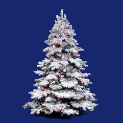 """Vickerman A806386 10' x 82"""" Prelit Flocked Alaskan Pine Christmas Tree - Get 10% discount on your first order. Coupon code: """"houzz"""". Order today."""