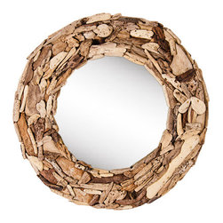 Round Drfitwood Mirror LOAVES, Handcrafted in Bali - Fashioned from driftwood collected on the shores of Bali, this round driftwood mirror brings island living to your living room. Handcrafted - every item is unique.