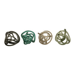 Multicolor Large Glass Rope Knots - Set of 4 - *Contemporary in style, this set of four large glass rope knots look great as table top accents or bowl filler in cool and neutral tones.
