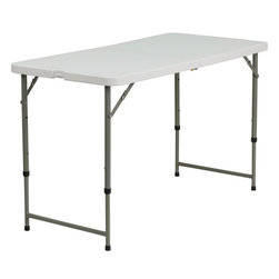 Flash Furniture - Flash Furniture Height Adjustable Granite White Plastic Folding Table - This rectangular folding table is beneficial in a multitude of environments that include banquet halls, conference centers, cafeterias, schools and in the home. The table can be used as a temporary seating solution or be setup for everyday use. The bi-fold feature folds the table in half the size and includes a carrying handle for easy transport. This table is also height adjustable to conform to a range of users. The durable blow molded top requires low maintenance and cleans easily. The table legs fold under the table to make storage more convenient and for better portability. This table is commercial grade to withstand everyday use in the hospitality industry.