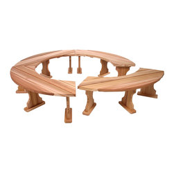 All Things Cedar - 4pc Garden Bench. Set - Sectional Design Allows For Custom Arrangement Or To Make A Full 360 circle design , 4 sections will create 7 ft. circle across with 53 inch inside diameter : DIMENSIONS : 82w x 82d x 17h (unassembled kit)