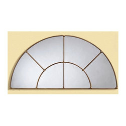 Bassett Mirror - Leaded-Glass Look Half-Moon Mirror in Bronze - Decorative mirror. May be paired with rectangle mirror in bronze finish. 48 in. L x 24 in. H (21 lbs.)