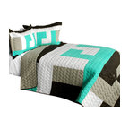 Blancho Bedding - Tetris - B Cotton Vermicelli-Quilted Patchwork Geometric Quilt Set-Queen - The [Tetris - B] Cotton Vermicelli-Quilted Patchwork Geometric Quilt Set-Queen includes a quilt and two quilted shams. This pretty quilt set is handmade and some quilting may be slightly curved. The pretty handmade quilt set make a stunning and warm gift for you and a loved one! For convenience, all bedding components are machine washable on cold in the gentle cycle and can be dried on low heat and will last for years. Intricate vermicelli quilting provides a rich surface texture. This vermicelli-quilted quilt set will refresh your bedroom decor instantly, create a cozy and inviting atmosphere and is sure to transform the look of your bedroom or guest room. (Dimensions: Full/Queen quilt: 90.5 inches x 90.5 inches; Standard sham: 24 inches x 33.8 inches)