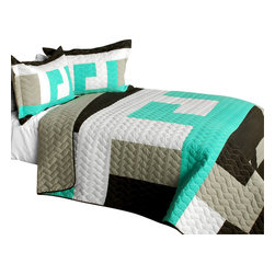Blancho Bedding - [Tetris - B] Cotton Vermicelli-Quilted Patchwork Geometric Quilt Set-Queen - The [Tetris - B] Cotton Vermicelli-Quilted Patchwork Geometric Quilt Set-Queen includes a quilt and two quilted shams. This pretty quilt set is handmade and some quilting may be slightly curved. The pretty handmade quilt set make a stunning and warm gift for you and a loved one! For convenience, all bedding components are machine washable on cold in the gentle cycle and can be dried on low heat and will last for years. Intricate vermicelli quilting provides a rich surface texture. This vermicelli-quilted quilt set will refresh your bedroom decor instantly, create a cozy and inviting atmosphere and is sure to transform the look of your bedroom or guest room. (Dimensions: Full/Queen quilt: 90.5 inches x 90.5 inches; Standard sham: 24 inches x 33.8 inches)