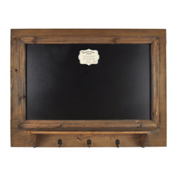 Enchante Accessories Inc - Distressed Wood Framed Chalk Bulletin Board Sign with Shelf and Hooks (Natural) - This message board features a Distressed Wooden Framed chalkboard with shelf and hooks.