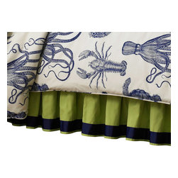 """Mystic Valley - Mystic Valley Traders Oceana - Bed Skirt, Twin - The Oceana bed skirt is fashioned from the bright Bahama fabric; it is lined and gathered, featuring a bottom blue grosgrain accent, with a 16"""" drop."""