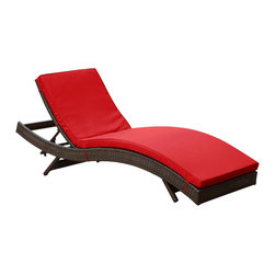 East End Imports - Peer Chaise in Brown Red - Don't let moments of relaxation elude you. Peer is a serenely pleasant piece comprised of all-weather cushions and a rattan base. Perfect for use by pools and patio areas, chart the waters of your imagination as you recline either for a nap, good read, or simple breaths of fresh air. Moments of personal discovery await with this chaise lounge that has fold away legs for easy storage or stackability with other Peer lounges.