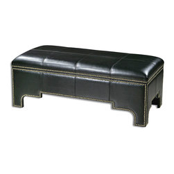 Onika Storage Bench - It may hold a winter's worth of favorite woolen throws, a compendium of photo albums worn with time, a collection of keepsakes from faraway travels. The generously-scaled Onika Storage Bench is crafted of supple, black faux leather; the rich ebony coloration creates a dramatic backdrop for the burnished brass accent nails that line the silhouette of this beautiful and practical accent piece. The bench also features a safety hinge and lined inner storage.
