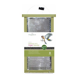 PineBush - Premium Eco Friendly Nyjer Seed Feeder - Created from 100% recycled plastic sheet. Heavy duty poly lumber (will not degrade in any conditions). Punched stainless steel or UV stabilized poly carbonate. Eco green with roller wood effect. Large capacity. Magnetically securing lid.