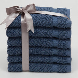 Linum Home Textiles - Luxury Hotel & Spa Herringbone Weave 100% Turkish Cotton Washcloths - Set of 6 - - Shop for Washcloths from Hayneedle.com! A herringbone pattern makes the Luxury Hotel & Spa Herringbone Weave 100% Turkish Cotton Washcloths - Set of 6 modern and luxurious. This set includes six washcloths crafted of 100% Turkish cotton on a jacquard machine with a woven herringbone pattern. These machine-washable washcloths come in a variety of sophisticated color options. They come tied with a velvet ribbon so are perfect as a gift.
