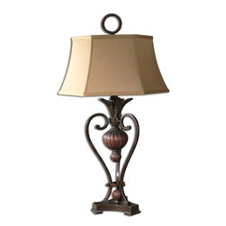 Old World Urn and Leaf Table Lamp - *This metal lamp is finished in a golden bronze with antique wood tone details.