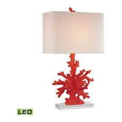 Dimond Lighting - Red Coral 1-Light LED Table Lamp in Red Coral - Dimond Lighting D2493-LED Red Coral 1-Light Table Lamp in Red Coral