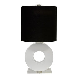 Worlds Away - Worlds Away White Lacquer and Lucite Ring Table Lamp LESLIE WH - White lacquer and lucite ring lamp with black linen drum shade. Lamp is Ul approved for 1 - 60 watt bulb. Comes with 8' clear cord set.
