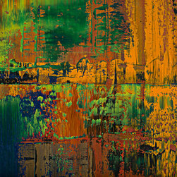 """modern abstraction #60-2054, 37x37 - """"Modern Abstractions"""", combines Spencer Rogers' photography and painting. They are macro photographs of small sections of his large paintings that are printed behind museum grade plexiglass acrylic, with polished edge, to create a stunning modern look. These have been a designer's dream as you can order them in multiple sizes. Only 25 of each image will be sold, which creates a lot of appeal to collectors and helps keep these works of art as unique as the original paintings. The finished piece in the sample photo is 48x64"""