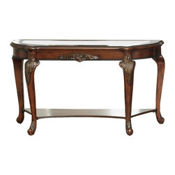 Liberty Furniture - Eden Park Sofa Table in Antique Cherry Finish - Artistic glass top insert. Shaped top with ebony beading. Ornately detailed apron and legs. Veneered bottom shelf. Warranty: One year. Made from cherry, prima vera and ebony veneers. Minimal assembly required. 52 in. W x 18 in. D x 29 in. H (68 lbs.)