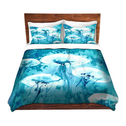 DiaNoche Designs - Duvet Cover Microfiber by Brazen Design Studio - Luminous - Super lightweight and extremely soft Premium Microfiber Duvet Cover in sizes Twin, Queen, King.  This duvet is designed to wash upon arrival for maximum softness.   Each duvet starts by looming the fabric and cutting to the size ordered.  The Image is printed and your Duvet Cover is meticulously sewn together with ties in each corner and a hidden zip closure.  All in the USA!!  Poly top with a Cotton Poly underside.  Dye Sublimation printing permanently adheres the ink to the material for long life and durability. Printed top, cream colored bottom, Machine Washable, Product may vary slightly from image.