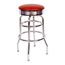 "Richardson Seating - Richardson Seating Retro 1950s 30"" Chrome Swivel Bar Stool with Wine Seat - Richardson Seating - Bar Stools - 1971WIN - Richardson Seating Floridian's Floridian collection ships within 2 business days as quick ship items. The 50's retro look bar stool collection is back with added comfort and stylish design. The Floridian collection are commercial bar stools made in the USA and equally ideal for residential use."