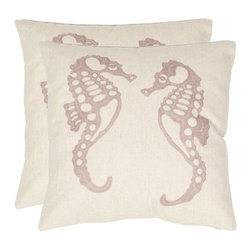 Safavieh - Safavieh Eldon 18 In. Cream/Taupe Decorative Pillows - Set of 2 Multicolor - PIL - Shop for Pillows from Hayneedle.com! Complement your beach-themed living room or bedroom with the Safavieh Eldon 18 in. Cream / Taupe Decorative Pillows - Set of 2. Inspired by marine life these pillows depict motifs of two taupe seahorses against a contrasting a cream background. Enhancing the simplicity of this embroidery is the intricate chain stitching for heightened aesthetic appeal. In addition the polyester filling in these pillows makes them hypoallergenic. Each pillow is covered in a cotton-linen blend fabric that's smooth on the skin and also easy to clean.Please note this product does not ship to Pennsylvania.