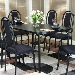 Cramco - Cramco Knight Rectangular Laminate Top Dining Table - Black - D8309-56 - Shop for Dining Tables from Hayneedle.com! Sleek contemporary and topped in durable laminate the Cramco Knight Rectangular Laminate Top Dining Table - Black is a handsome addition to your kitchen or dining room. This table is built sturdy with welded metal legs with an electrostatic powder-coated baked-on black finish. Its black top is thermally fused and mar-resistant. Seats up to six people in style.About CramcoBased in Philadelphia Pennsylvania Cramco provides an expansive selection of dining and dinette sets from traditional to contemporary. Quality materials including wood glass marble and laminate are used to create designs you'll love.